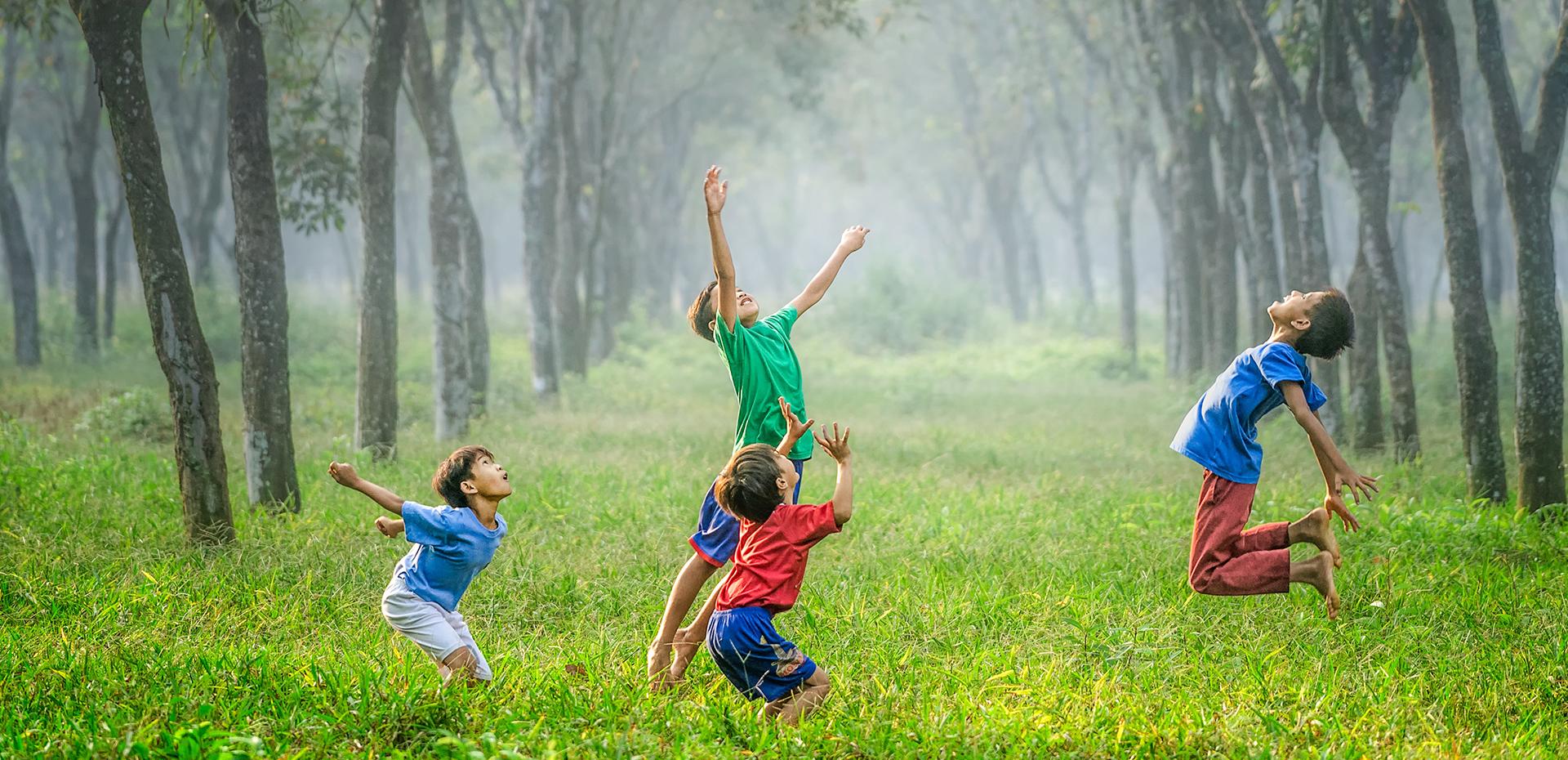 Des enfants jouent dans une forêt avec un ballon