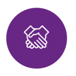 Poignée de main sur fond violet
